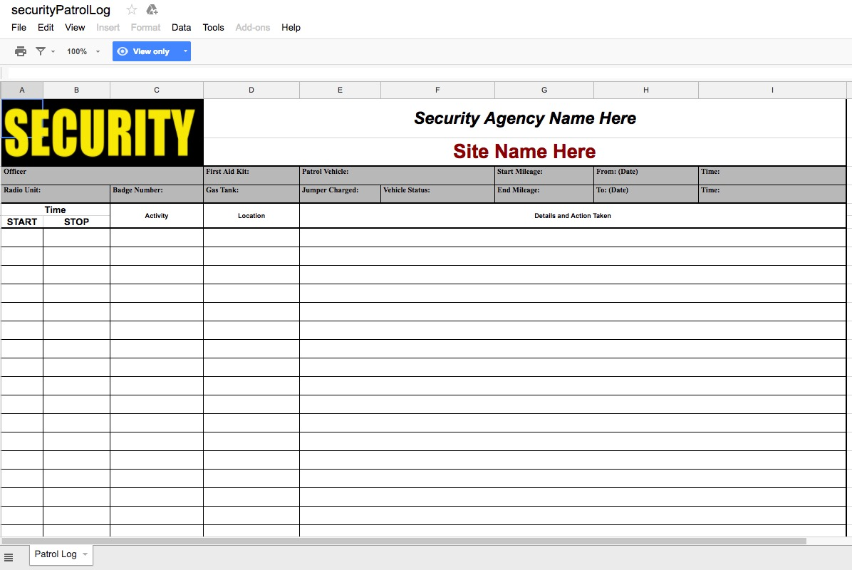 Screenshot of Security Patrol Log