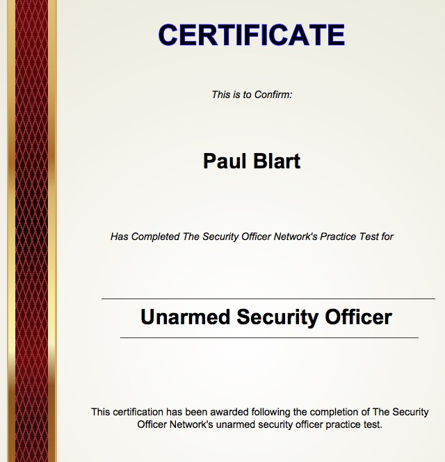 unarmed security passage certificate